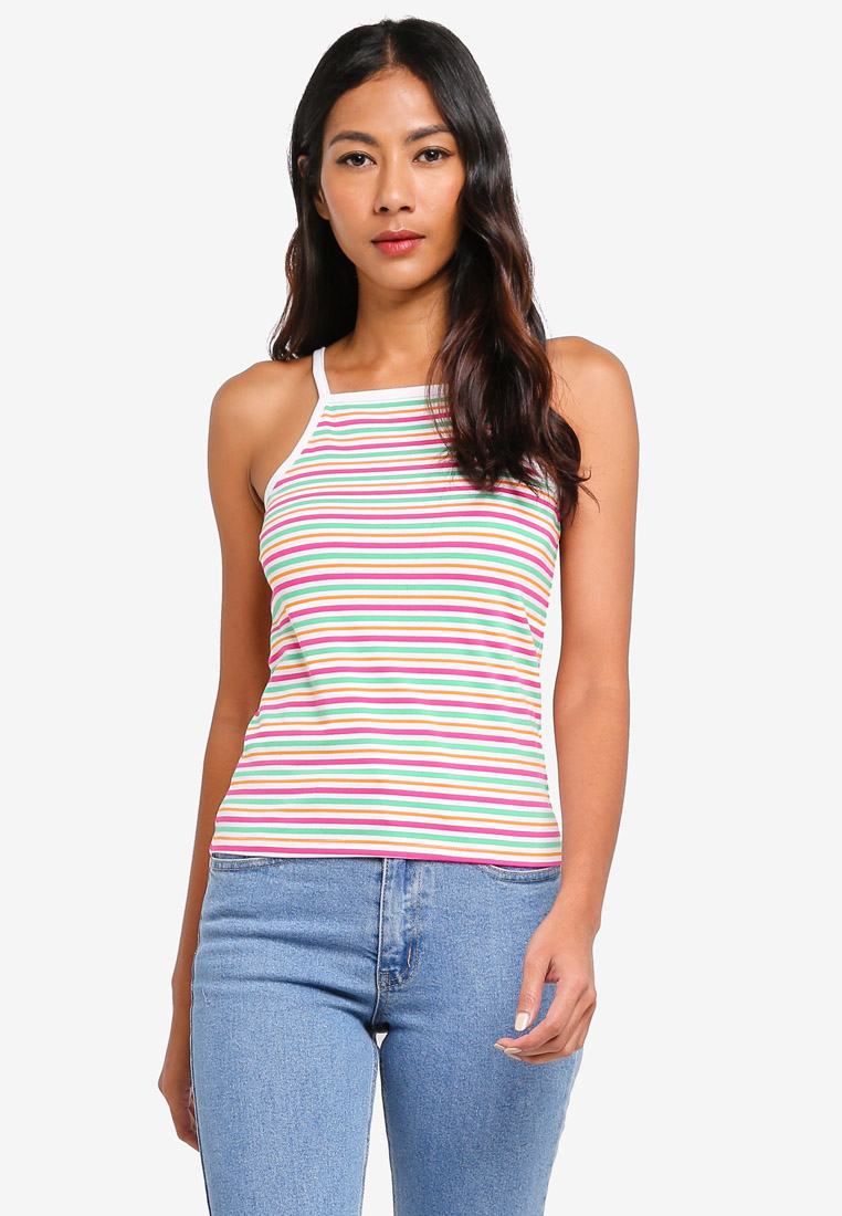 9033 Only Live Love o-neck Singlet Tank Top Bianco